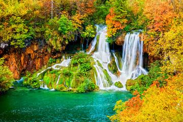 Obraz Waterfall in Autumn Forest - fototapety do salonu