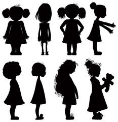 Little girls silhouettes set.