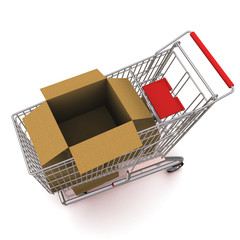 trolley with an open cardboard box