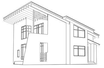 architectural drawing at home in the perspective