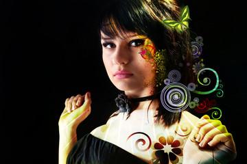 Fashion portrait with decorative elements