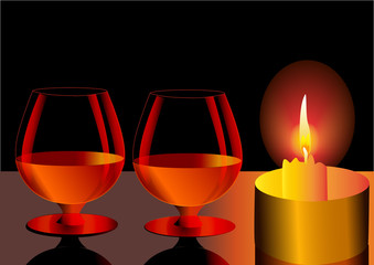 illustration festive goblets and candle