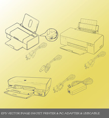 eps Vector image: inkjet printer & AC adapter & usbcable