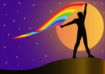 silhouette person who keeps developing rainbow