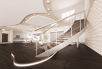 Treppe im Wohnzimmer interior 3d render