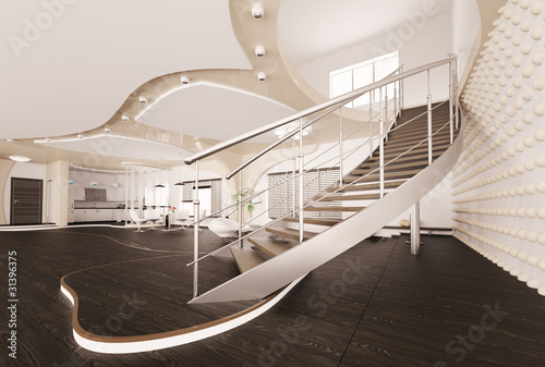 treppe im wohnzimmer interior 3d render stockfotos und lizenzfreie bilder auf. Black Bedroom Furniture Sets. Home Design Ideas