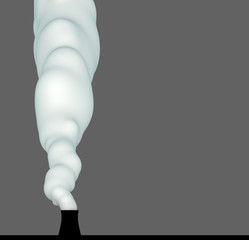 3d render of nuclear power-plant chimney with puffy white smoke