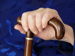 Lady hand on cane