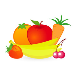 Vector isolated illustration of fruits