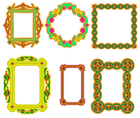 Set of multi-colored frame with a flower and Arabian ornament.