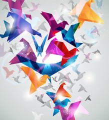 Poster Geometric animals Paper Flight. Origami Birds. Abstract Vector Illustration.
