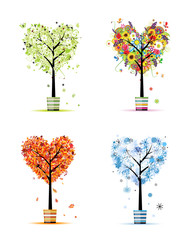 Four seasons - spring, summer, autumn, winter. Art trees in pots