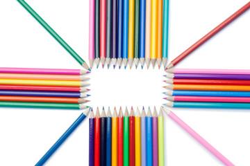 Top view of color pencils shape