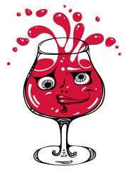 Drunk wineglass illustration.