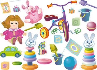 Set of children's toys for younger age.