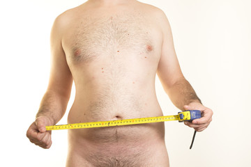 Male torso and measuring tape