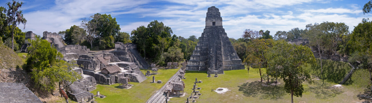 Panoramic image of the the Mayan ruins of Tikal in Guatemala.