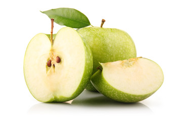 Ripe green apple fruit with leaf and slices isolated