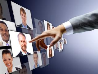 International business team over modern urban