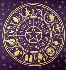 Wheel of Zodiac symbols