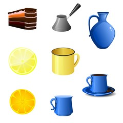 vector image of objects for tea and coffee