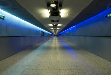 Illuminated airport corridor. Frankfurt international.