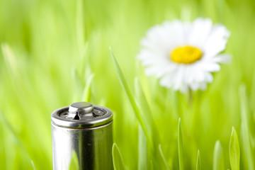 battery on a fresh grass