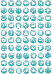 Set of round buttons with web icons