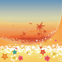 Plumerias, starfishes and waves crashing on sand.
