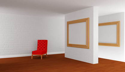 Empty gallery's hall with red chair