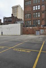Deserted parking lot and rundown downtown area, Cincinnati, USA