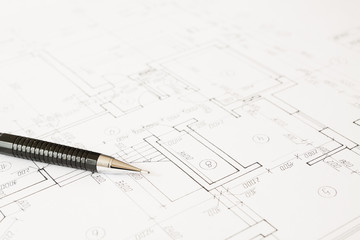 Plans and black pencil