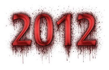 Number 2012 in splatter of blood