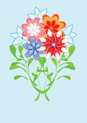 Bunch of flowers on isolated background