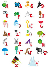 Illustration with the English animated alphabet
