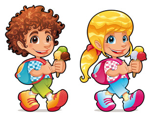 Boy and girl with ice cream. Vector  isolated characters.