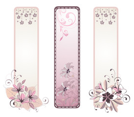 Set of floral greeting banners with flowers