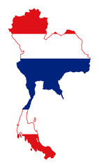 Fototapete - Thailand flag on map