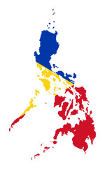 Wall Mural - Philippines flag on map