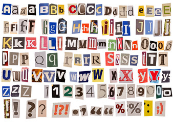 newspaper alphabet isolated