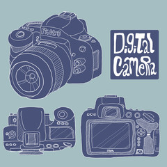 Digital camera drawing in blue color theme