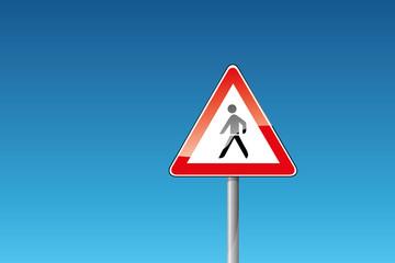Verkehrszeichen Achtung Fußgänger Fussgänger
