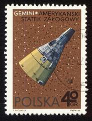 Postage stamp from Poland with american spaceship Gemini