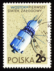 Postage stamp from Poland with first spaceship Vostok