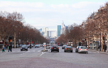 view of La Defense business quarter, cars on Grand Armagh avenue