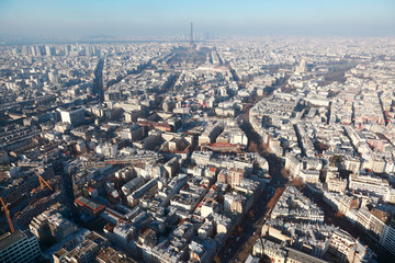 panorama of Paris with eiffel tower at winter, France