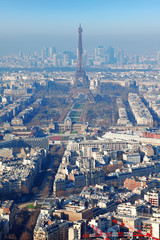 panorama of Paris with eiffel tower, la Defence at winter