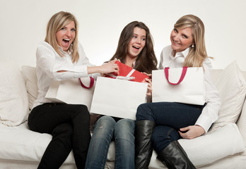 Female friends with presents