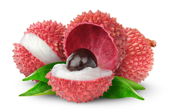Isolated lychees. Fresh cut lychee fruits with big nut isolated on white background