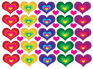 Symmetry colored hearts